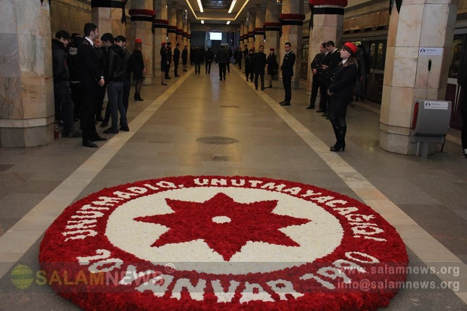Bakı metrosunda 20 Yanvar şəhidlərinin anım mərasimi keçirilib