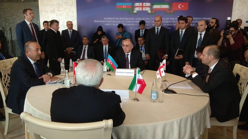 Azərbaycan, Türkiyə, İran və Gürcüstan XİN başçıları ile ilgili görsel sonucu