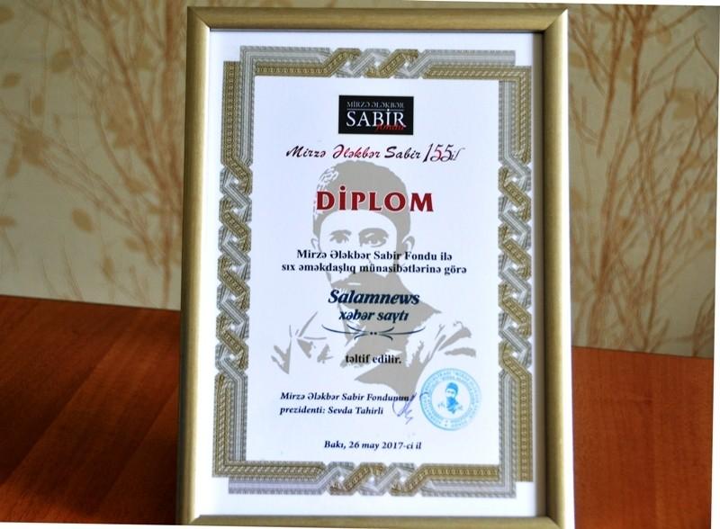 SalamNews M.Ə.Sabir Fondu tərəfindən diploma layiq görülüb